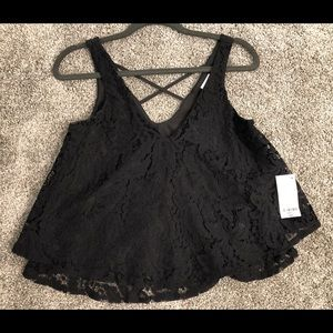 Decree Black Lace Crop Top - NWT!  Size Small